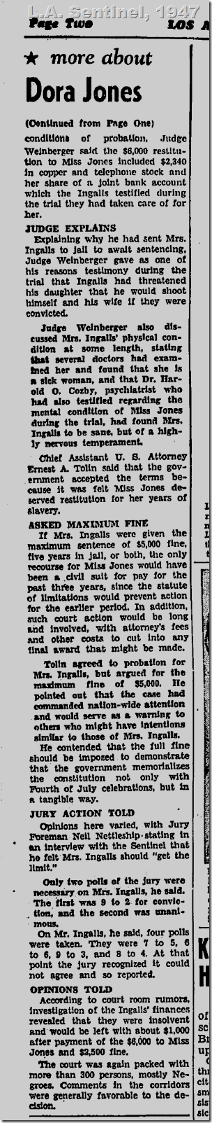 July 31, 1947, L.A. Sentinel, Slavery Trial