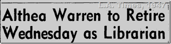 Sept. 28, 1948, L.A. Times, Althea Warren