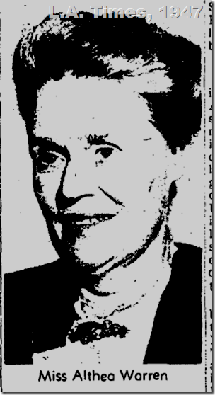 L.A. Times, 1947, Althea Warren