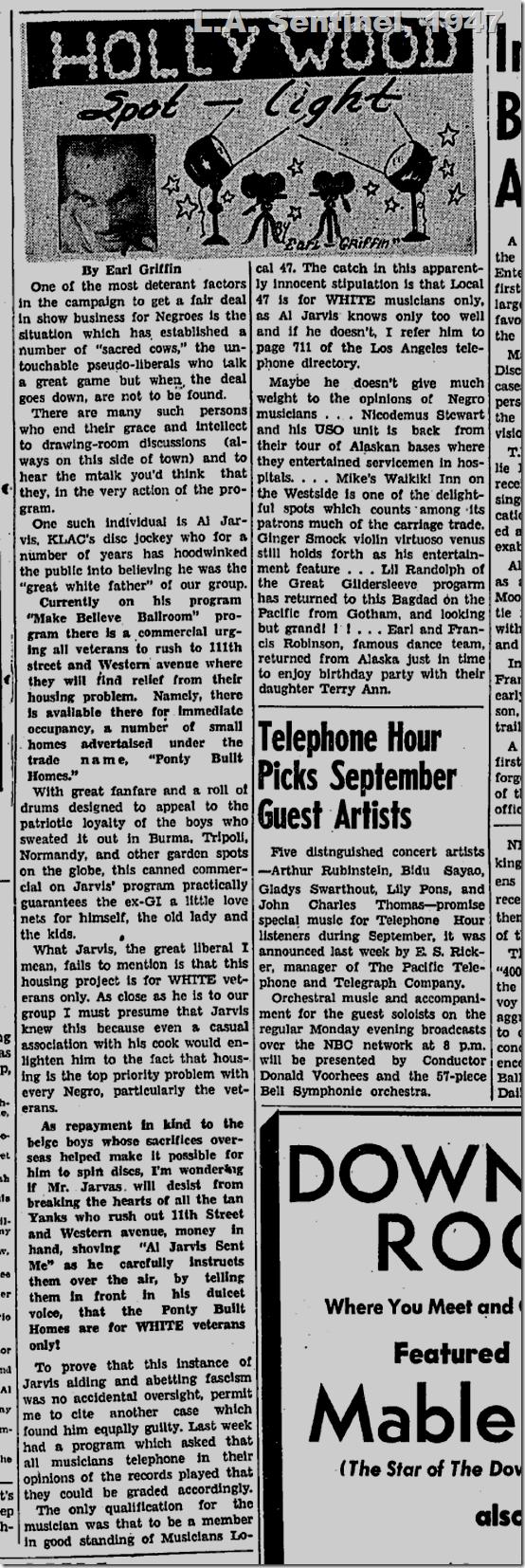 Sept. 4, 1947, L.A. Sentinel, Hollywood Spotlight