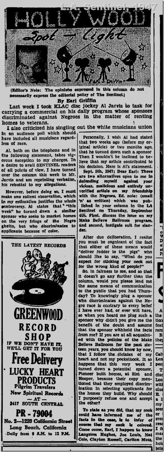Sept. 11, 1947, L.A. Sentinel, Al Jarvis