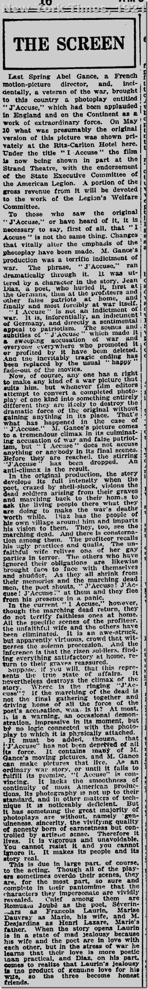 New York Times, Oct. 10, 1921