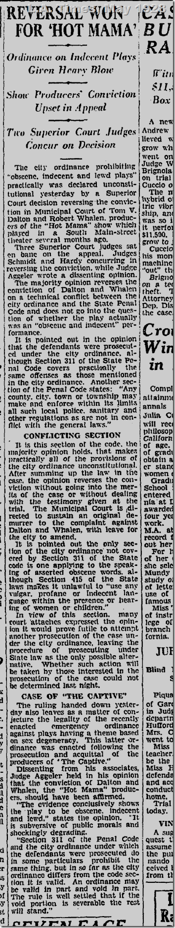 L.A. Times, May 1928