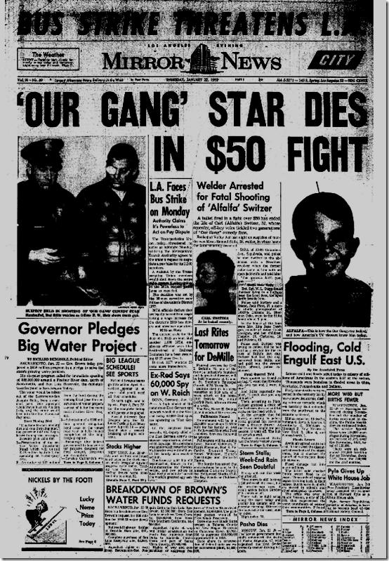 Jan. 22, 1959, Alfalfa Dies in Fight
