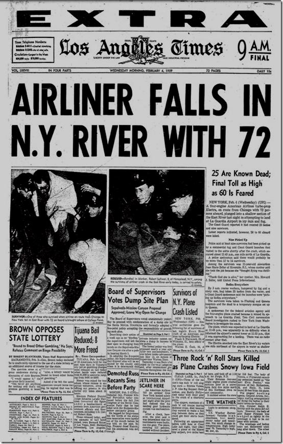 Feb. 4, 1959, Airliner falls in N.Y. River