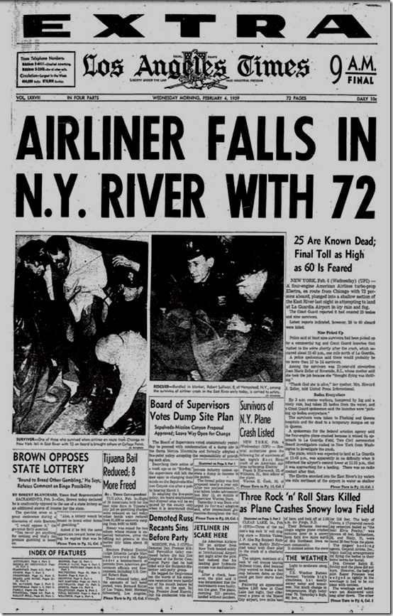 Feb. 4, 1959, Airliner falls in N.Y. River