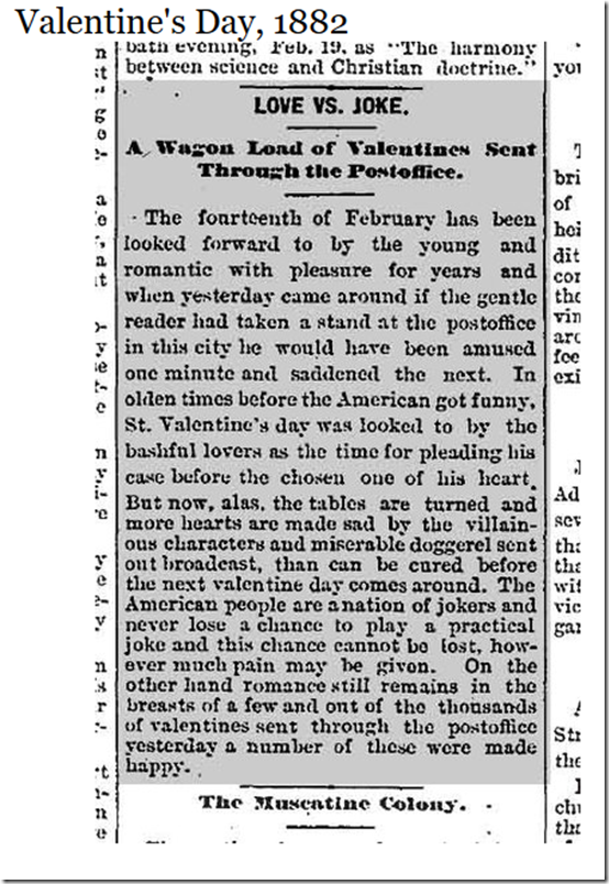 Feb. 14, 1882, Valentine's Day