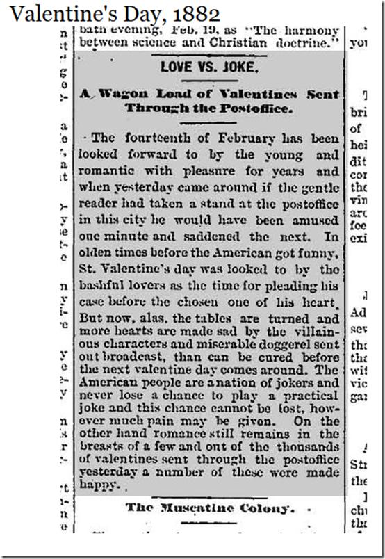 Feb. 14, 1882, Valentine's Day