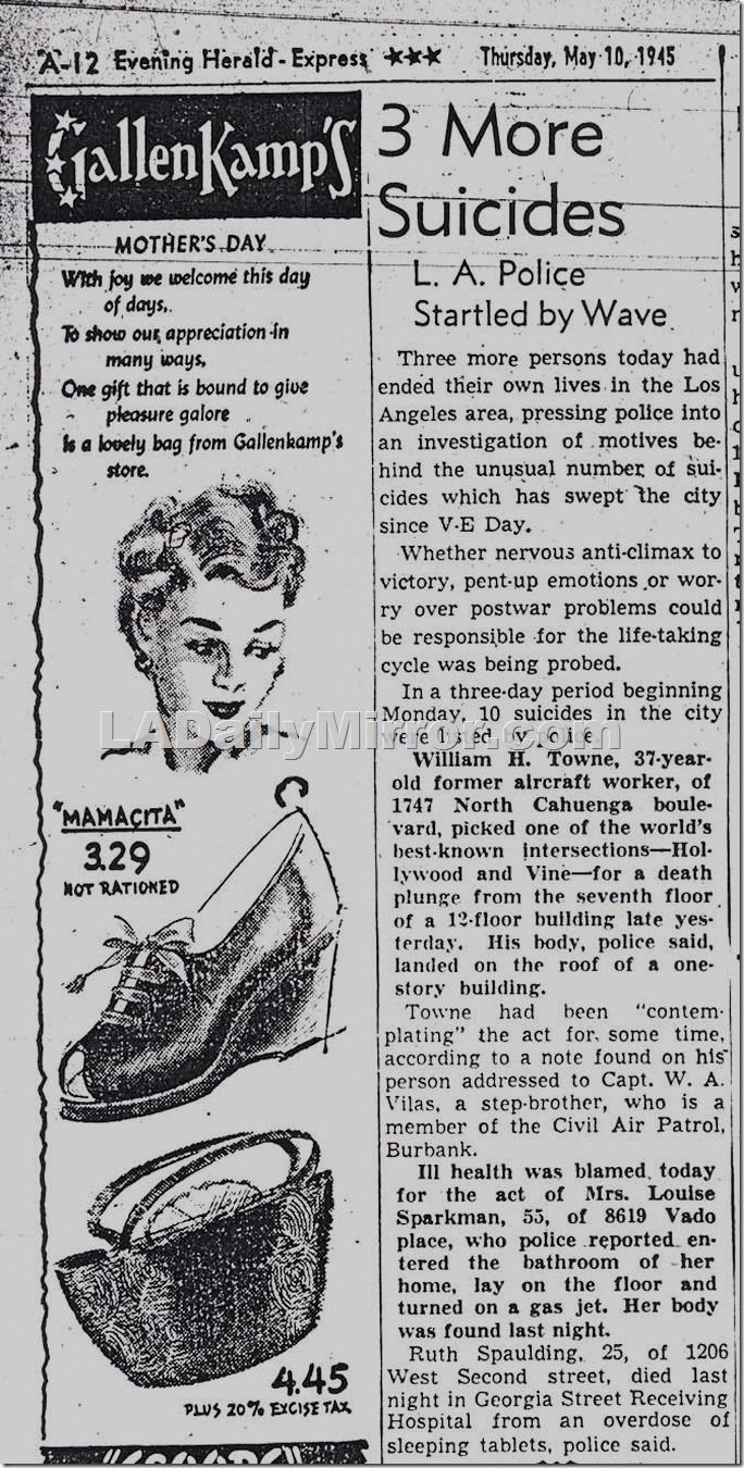 1945 Ruth Spaulding Suicide