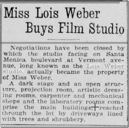 Lois Weber Busy Studio LA Herald 9-11-20