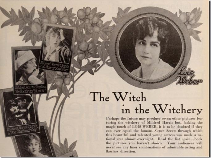 Lois Weber Mildred Chaplin Ad