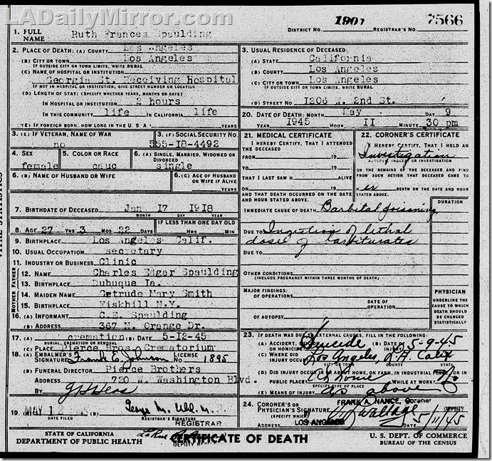 Ruth Spaulding Death Certificate
