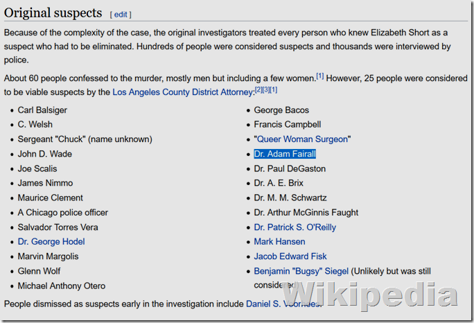 Wikipedia, Black Dahlia Suspects