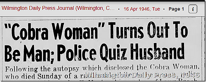 April 16, 1946, Cobra Woman