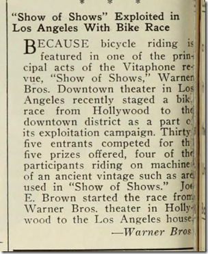 Joe E. Brown bicycle race