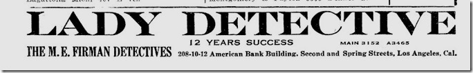 Lady Detective Ad 1917 LA City Directory