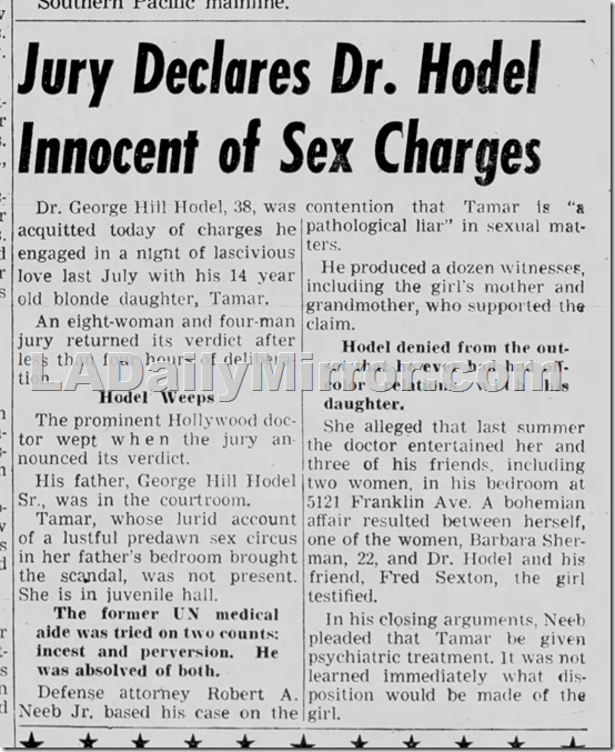 Dec. 23, 1949, Mirror-News, George Hodel found not guilty of molesting daughter Tamar Hodel