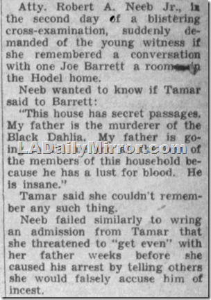 Dec. 17, 1949, Los Angeles Daily News, Tamar Hodel denies accusing George Hodel of killing Black Dahlia