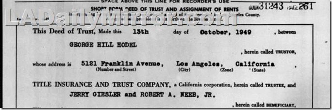Oct. 13, 1949, George Hodel Loan
