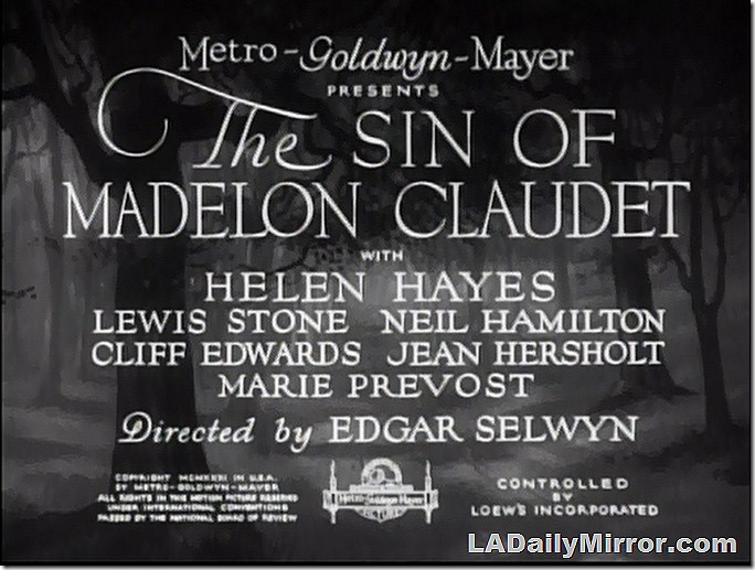Jan. 9, 2021, The Sin of Madelon Claudet Main Title