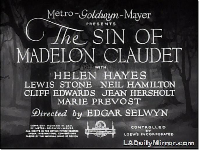 Jan. 9, 2021, The Sin of Madelon Claudet Main Title