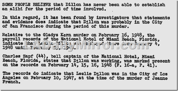 District Attorney's Lt. Frank Jemison report on Leslie Dillon , Nov. 23, 1949