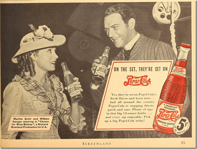 Martha Scott and William Gargan drink Pepsi!