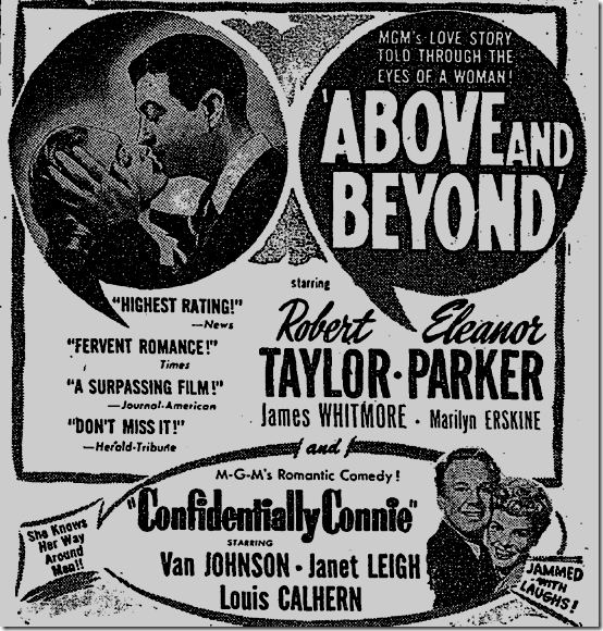 "April 24, 1953, ad for ""Confidentially Connie"""