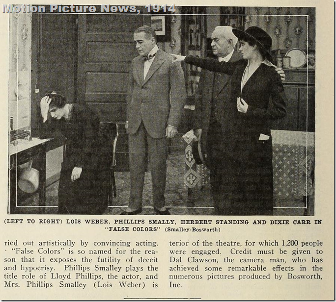 'False Colors,' 1914 with Lois Weber, Phillips Smally, Herbert Standing and Dixie Carr