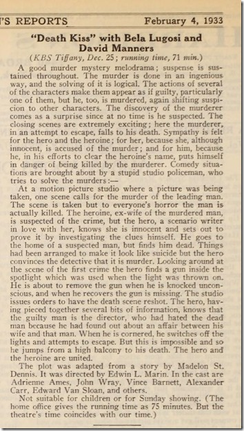 Review of 'The Death Kiss' in Harrison's Reports