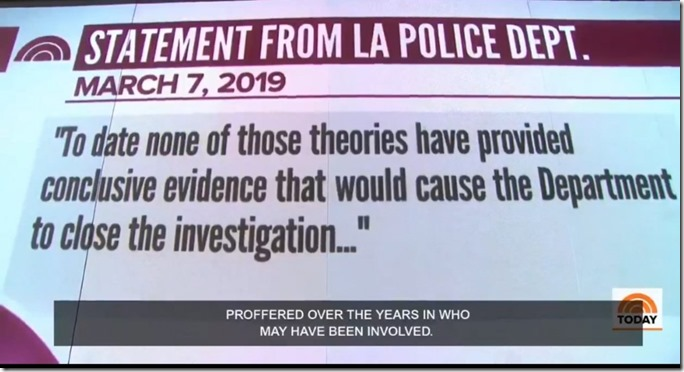 March 7, 2019, LAPD statement on allegations that George Hodel killed the Black Dahlia