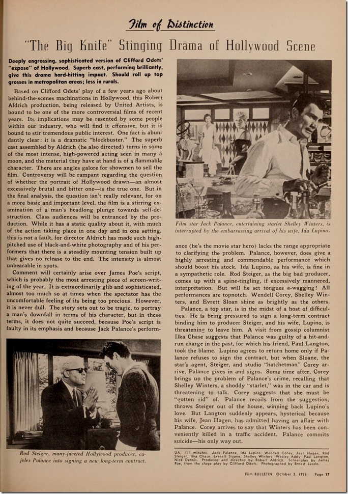 Film Bulletin, October 3, 1955, review of The Big Knife, photos of Rod Steiger and Jack Palance