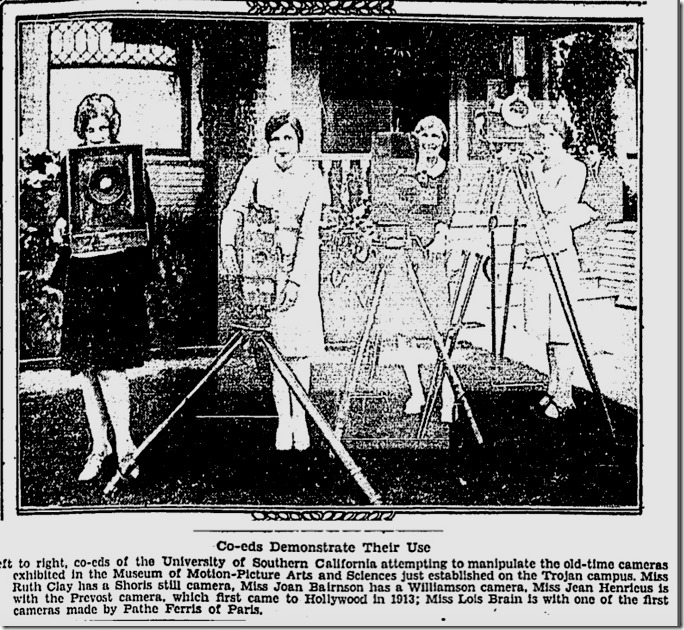 Cameras for AMPAS Museum, Los Angeles Times 10-15-28
